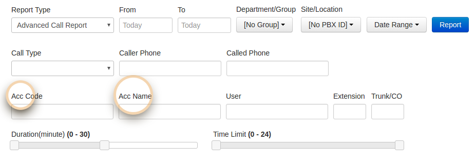 Add search by Account Code, Account Name on Advanced Call Report